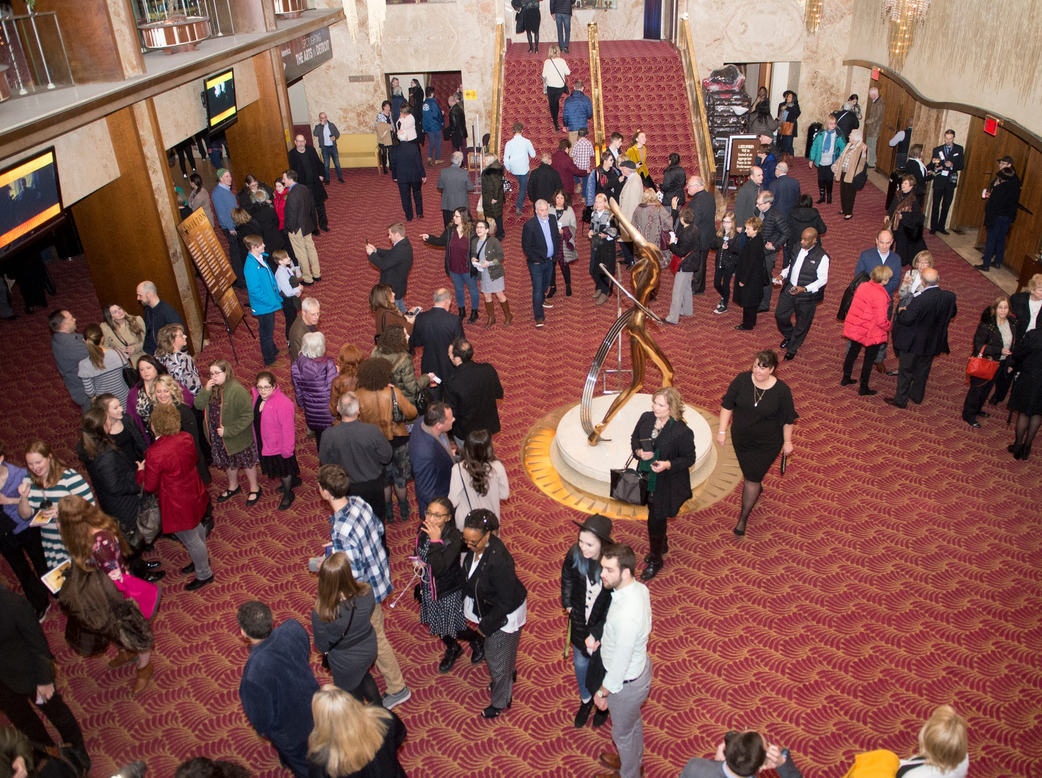 """Theatregoers paced the lobby of the Fisher Theatre before Tuesday's night's premiere of """"Hamilton."""""""