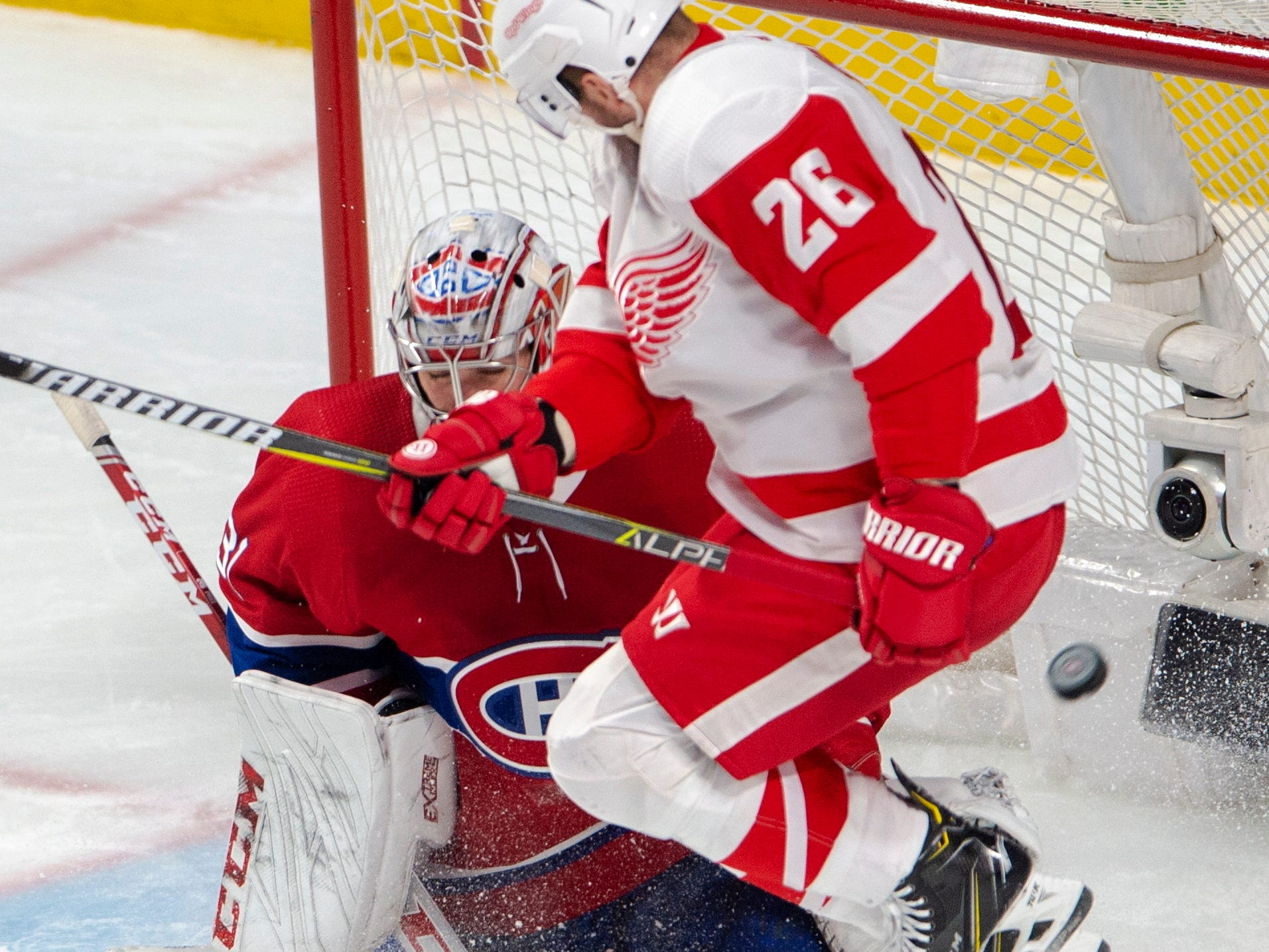 Detroit Red Wings left wing Thomas Vanek (26) jumps in front of Montreal Canadiens goaltender Carey Price (31) during the first period on Tuesday, March 12, 2019, in Montreal.