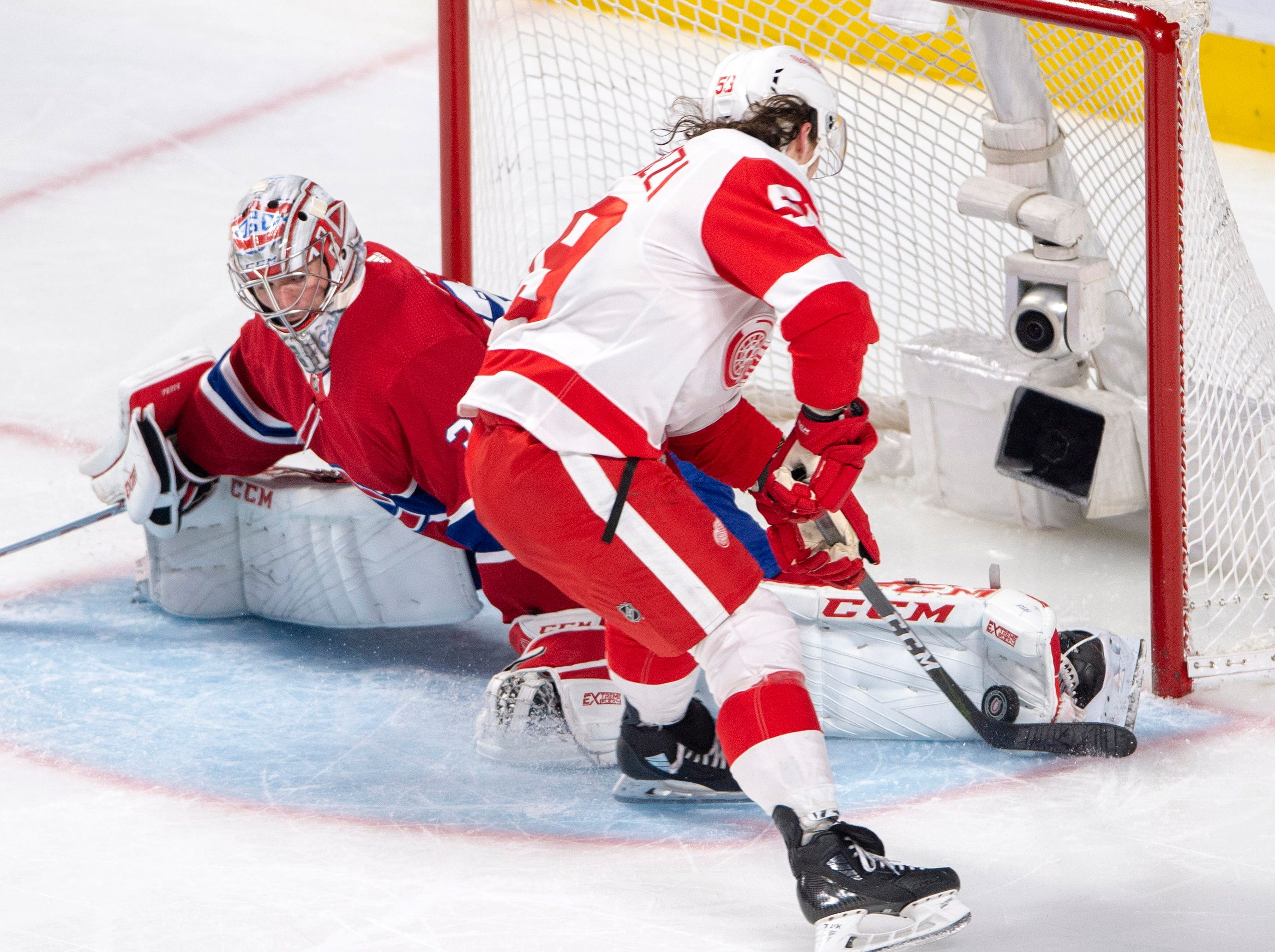 Montreal Canadiens goaltender Carey Price (31) stops Detroit Red Wings left wing Tyler Bertuzzi (59) on a breakaway during the third period.
