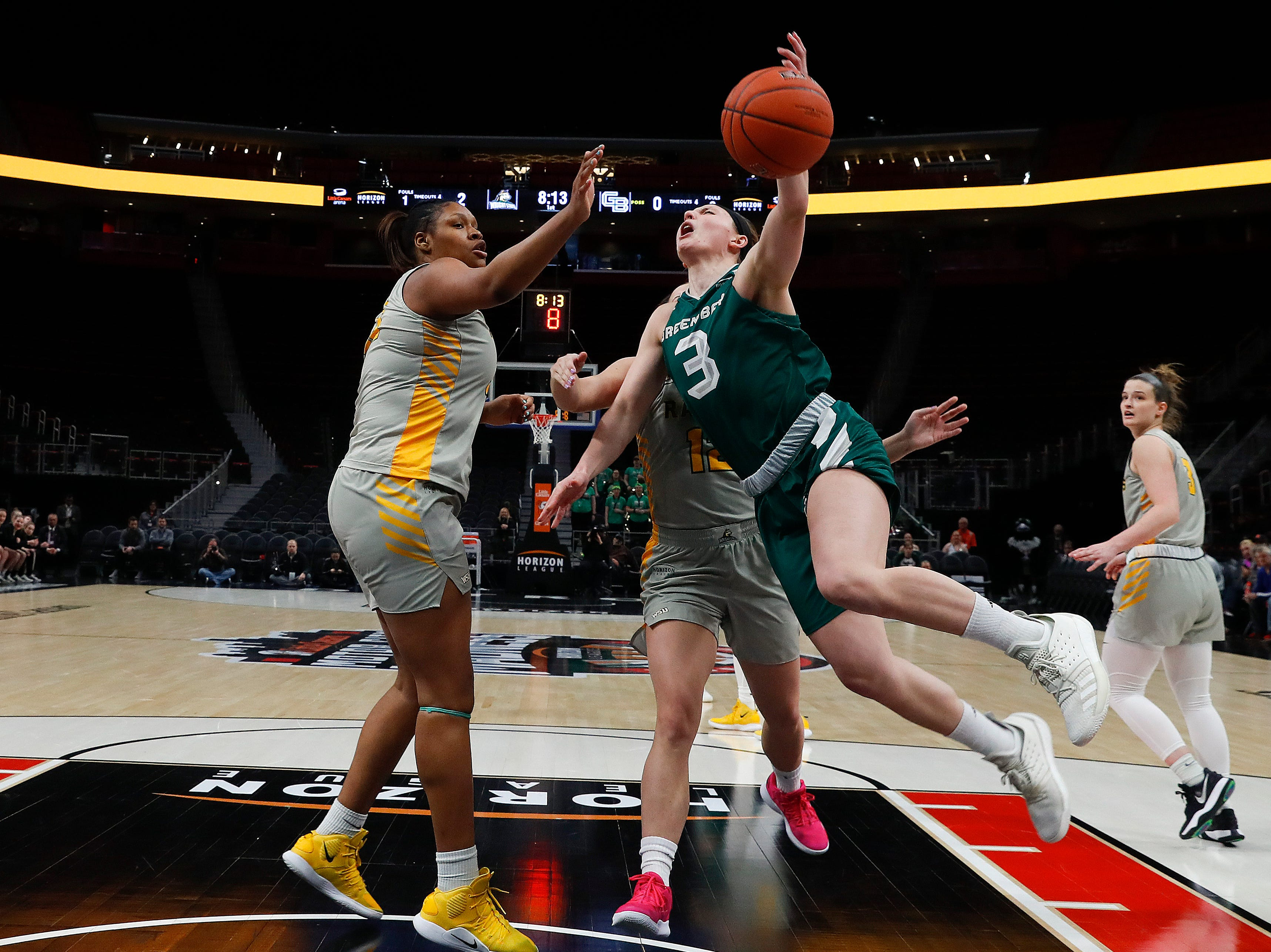 Green Bay guard Frankie Wurtz (3) drives on Wright State center Tyler Frierson (33) in the first half.