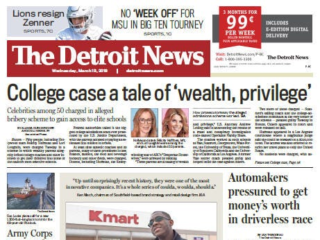 Front page of The Detroit News on Wednesday, March 13, 2019.