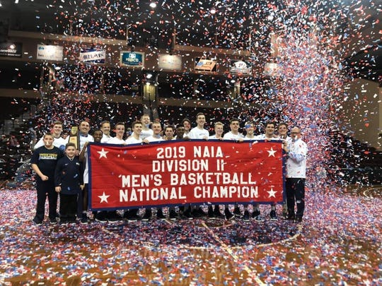 Spring Arbor celebrates its NAIA national championship.