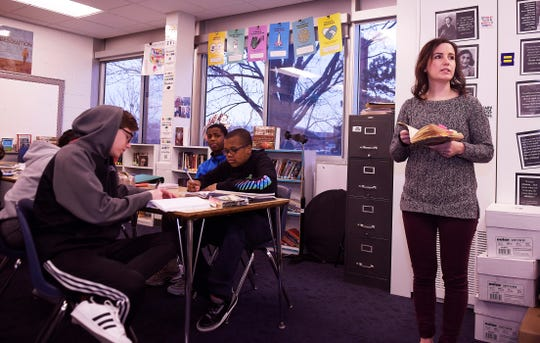 Eighth grade teacher Shana Ramin discusses the day's lesson in her language and literature class for 8th graders at Norup Middle School in Oak Park.
