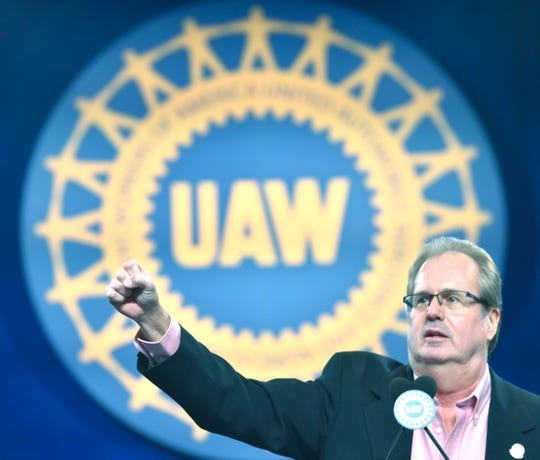 """UAW President Gary Jones said automakers are """"on notice"""" over the closing of plants and shipping jobs to Mexico. He speaks Wednesday at the 2019 special convention, starting the chant 'We Are One' during his keynote speech."""