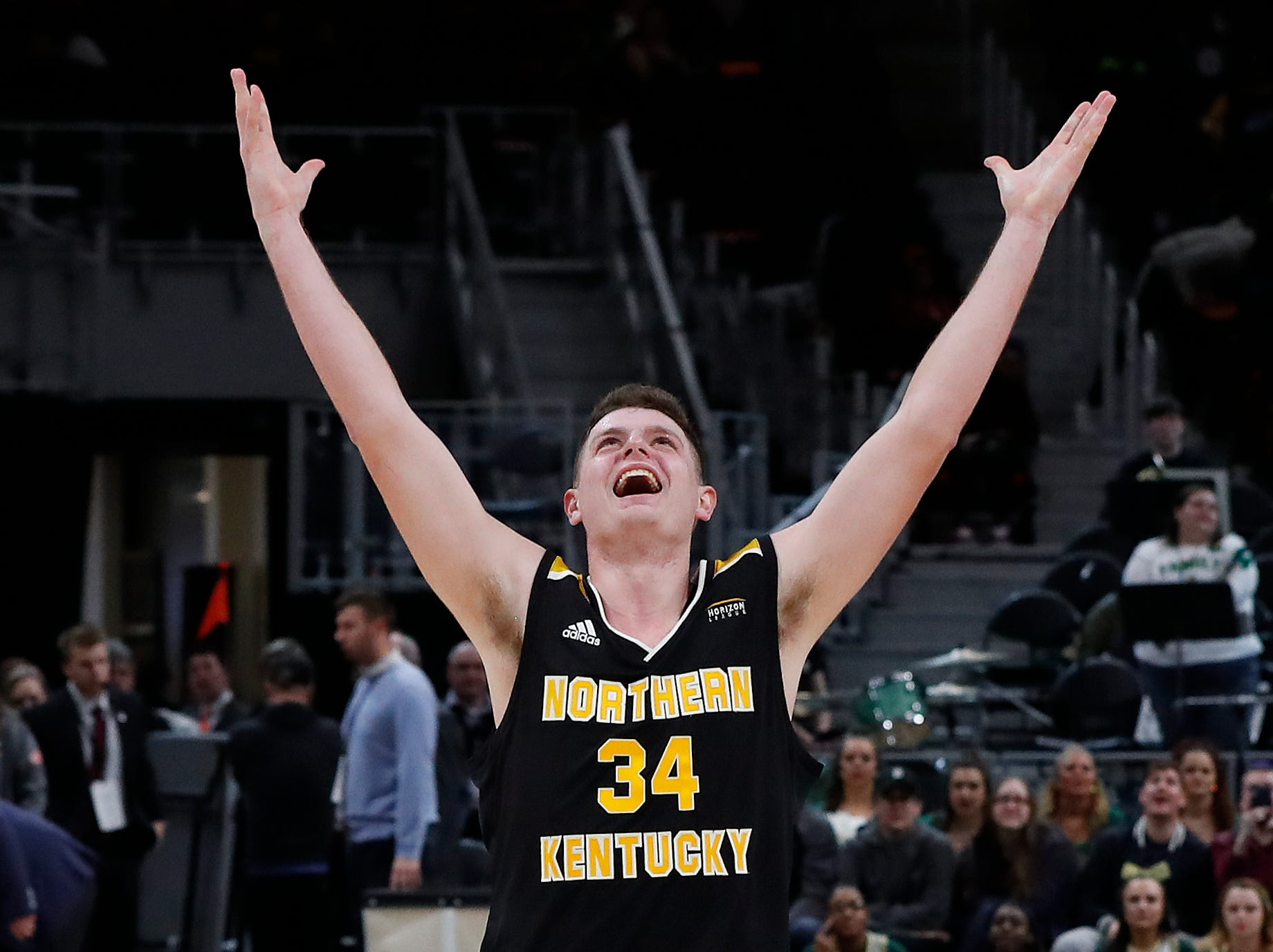 Northern Kentucky forward Drew McDonald celebrates the team's 77-66 win against Wright State.