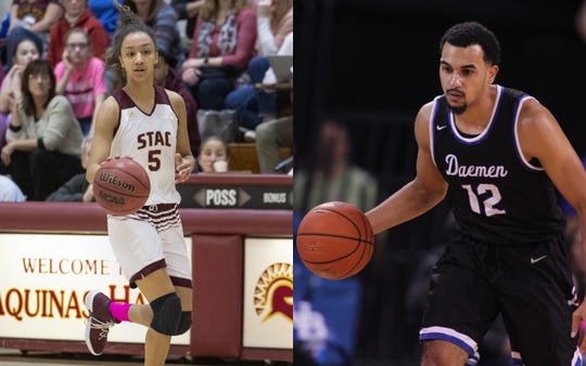 Elmira High graduate Zaria Thomas of St. Thomas Aquinas College and Elmira Notre Dame graduate Darius Garvin of Daemen College athletics.