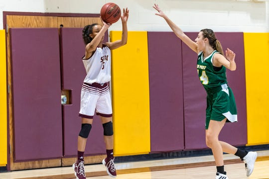 Elmira High graduate Zaria Thomas competes for the St. Thomas Aquinas College women's basketball team.