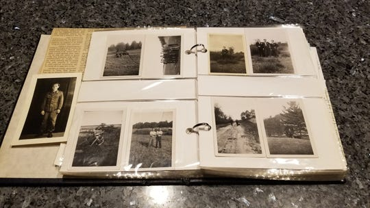 A scrapbook Gerhard Pechmann has compiled of his father's life, including his time as a POW.
