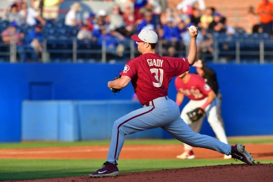 Florida State starter Conor Grady threw three scoreless innings while striking out three batters against Florida at McKethan Stadium on Tuesday night.