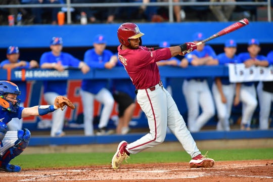 Florida State shortstop Nander De Sedas homered in the third inning against Florida at McKethan Stadium on Tuesday night.