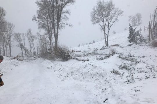 This photo shows where a house was flattened by an avalanche outside of Lake City on Tuesday morning.