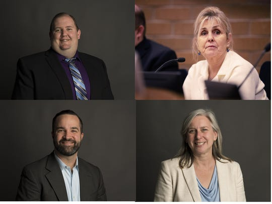 Fort Collins City Council District 2 candidates are, clockwise from top left, Adam Eggleston, Susan Holmes, Julie Pignataro and Noah Hutchison.