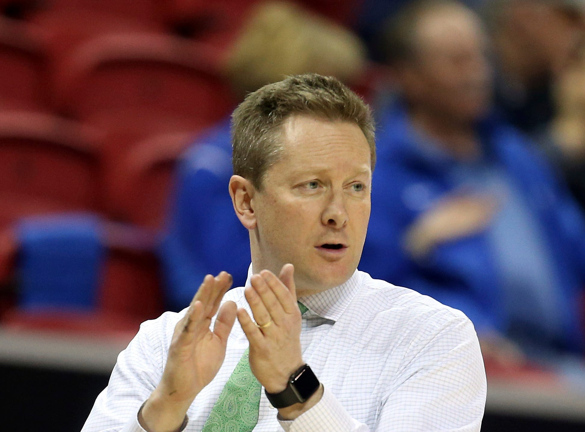 Colorado State head coach Niko Medved instructs his team during the second half of an NCAA college basketball game against Boise State in the Mountain West Conference tournament Wednesday, March 13, 2019, in Las Vegas.