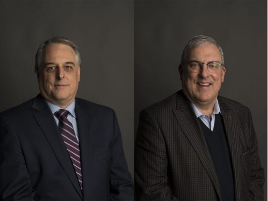 Mayor candidates are Michael Pruznick, left, and Wade Troxell, the current mayor.