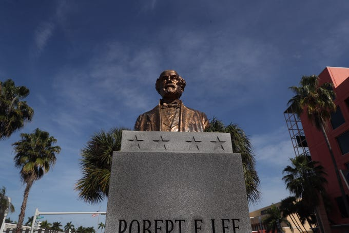 The Robert E. Lee bust has been placed back on its pedestal in downtown Fort Myers on Wednesday 3/13/2019. It was found Tuesday morning face down on the ground.