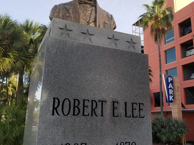 Bust of Robert E. Lee, restored to its position atop a pedestal on a Monroe Street median strip in downtown Fort Myers. It has since been removed, and the city council agreed unanimously to keep it off its pedestal for now.
