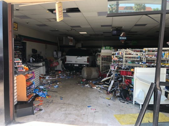 An SUV crashed into a 7-Eleven store on Cleveland Avenue Tuesday.