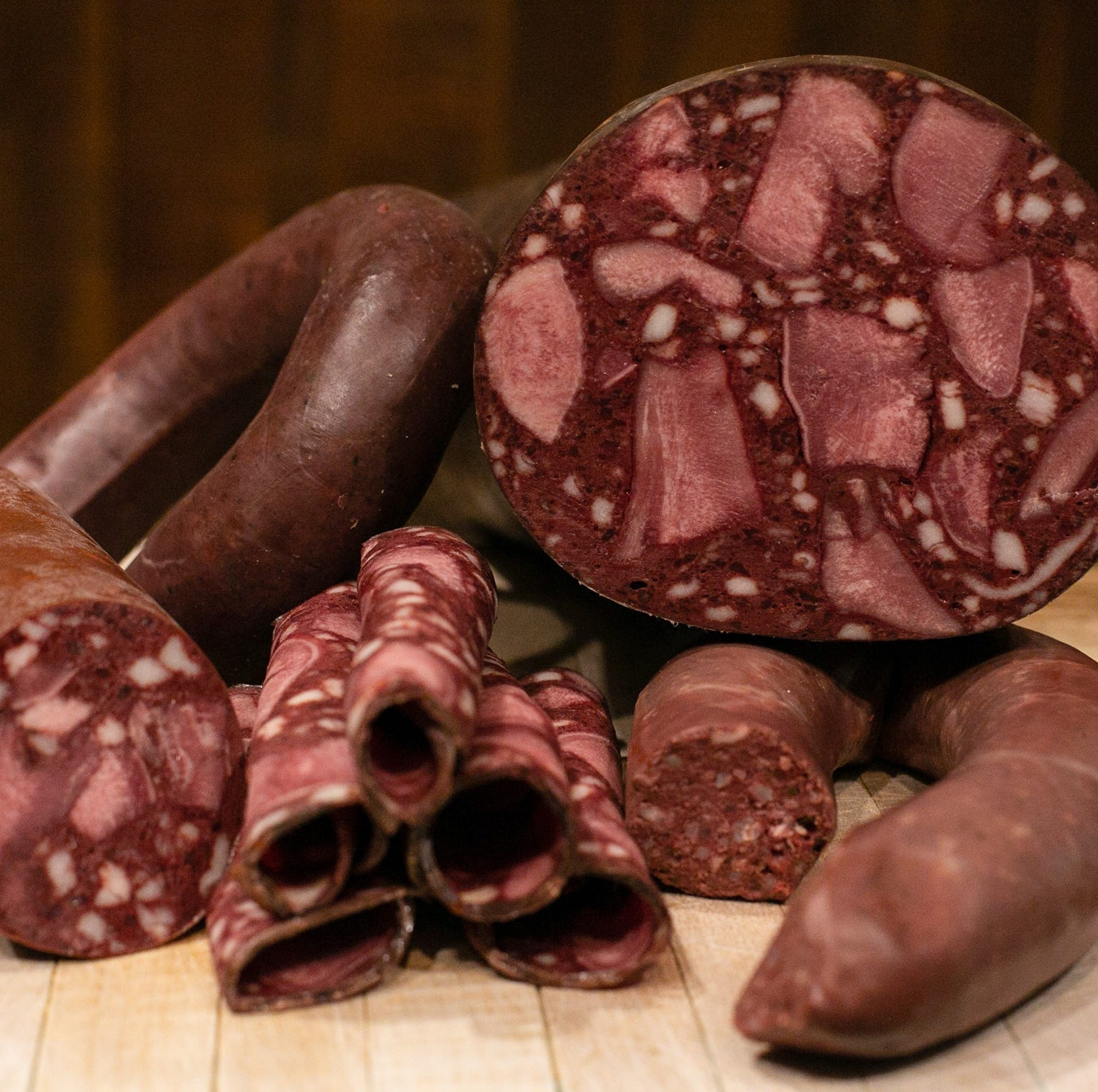 Tongue blood sausage and ring blood sausage are...