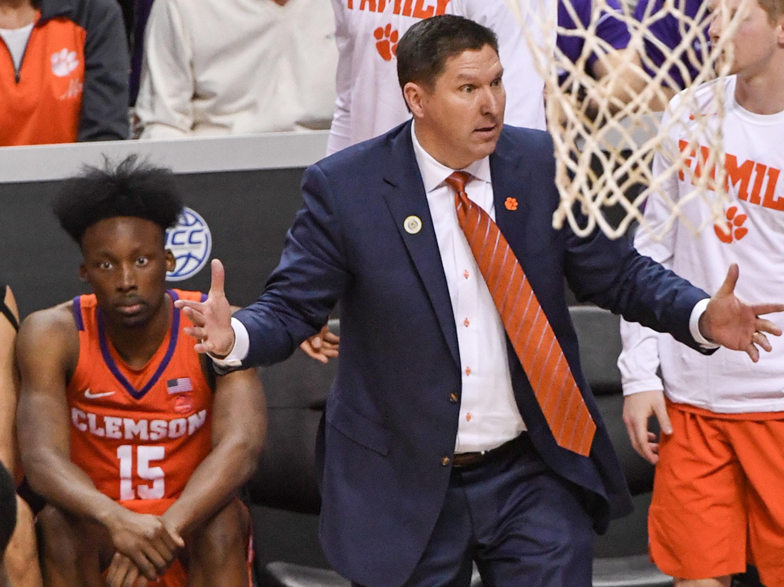 Clemson head coach Brad Brownell reacts after a call during the second half with N.C. State at the Spectrum Center in Charlotte, N.C. Tuesday, March 12, 2019.