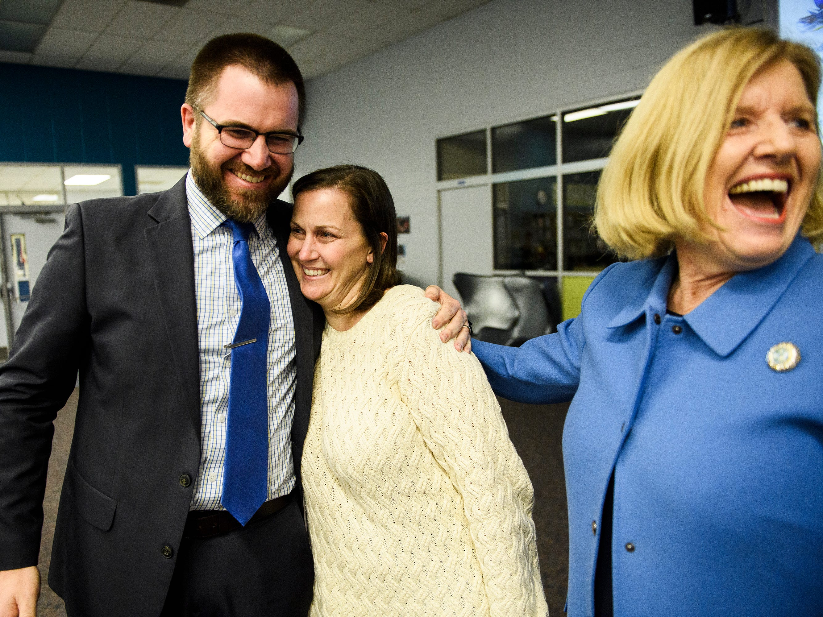 Tamara Cox hugs principal Seth Young as she is named as one of five finalists for South Carolina Teacher of the Year at Wren High School Wednesday, March 13, 2019.
