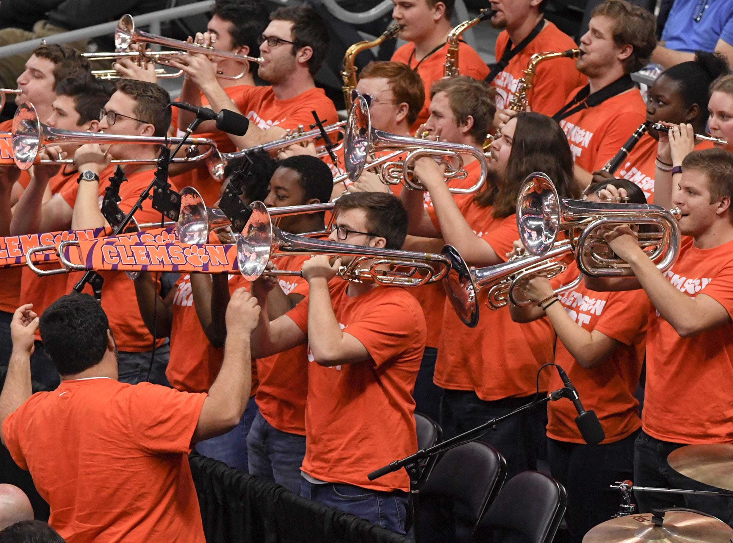 Clemson band plays during the second half at the Spectrum Center in Charlotte, N.C. Tuesday, March 12, 2019.