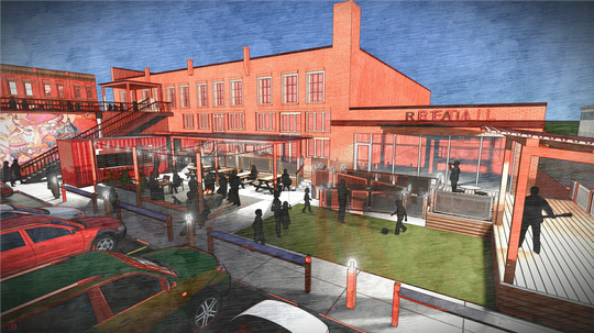 This rendering shows the outdoor space planned at the new Burdette Central development in downtown Simpsonville.