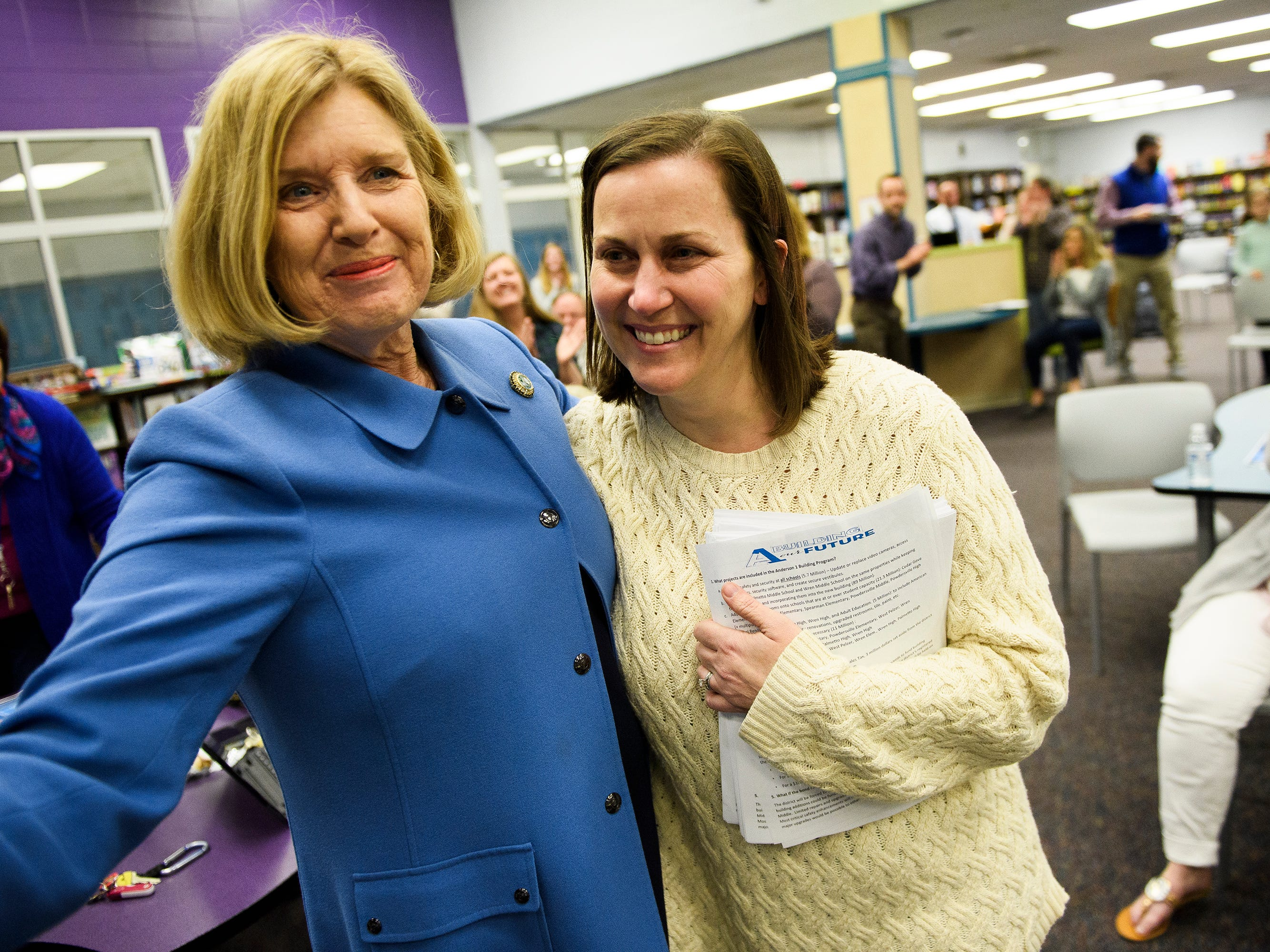 Superintendent of Education Molly Spearman congratulates Tamara Cox as it is announced she is one of five finalists for South Carolina Teacher of the Year at Wren High School Wednesday, March 13, 2019.