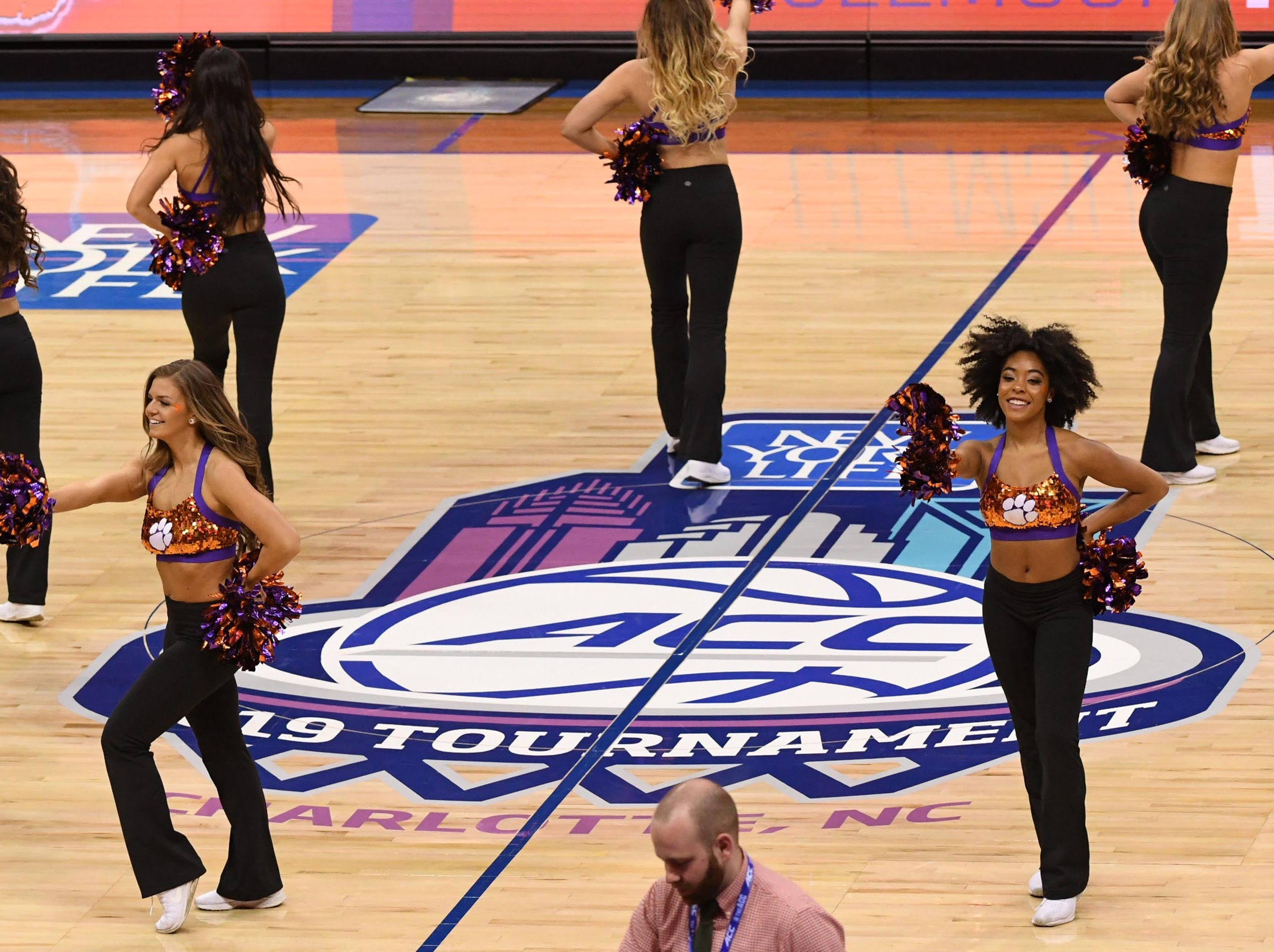 Clemson Rally Cats perform at a break during the second half at the Spectrum Center in Charlotte, N.C. Tuesday, March 12, 2019.