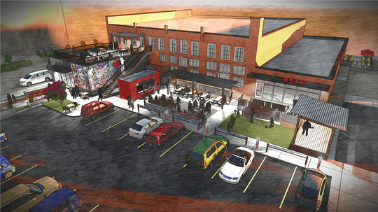 This rendering shows the planned redevelopment of the historic Burdette Building in downtown Simpsonville.