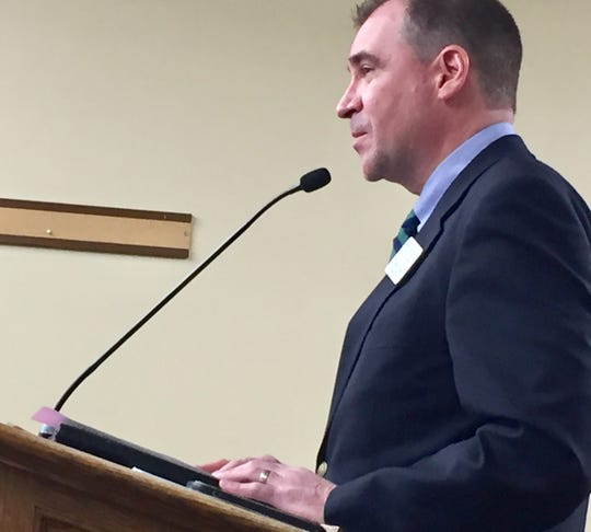 Darryl James, executive director of the Montana Infrastructure Coalition, talks Wednesday to a state panel about House Bill 652.
