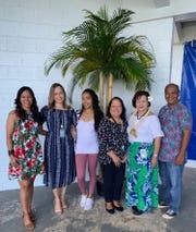 On March 1 M.U. Lujan Elementary School held an opening ceremony for Sakkan (Mes) CHamoru. Pictured from left: Sinora Loretta P. Cruz; Principal NatashaJo A. Dela Cruz; Sinorita Eva A. Cruz; Sinora LeVonne S. Mantanona; Guest speaker Saina Rufina F. Mendiola, CHamoru Studies & Special Programs Administrator; and Sinot Albert C. Fejeran.
