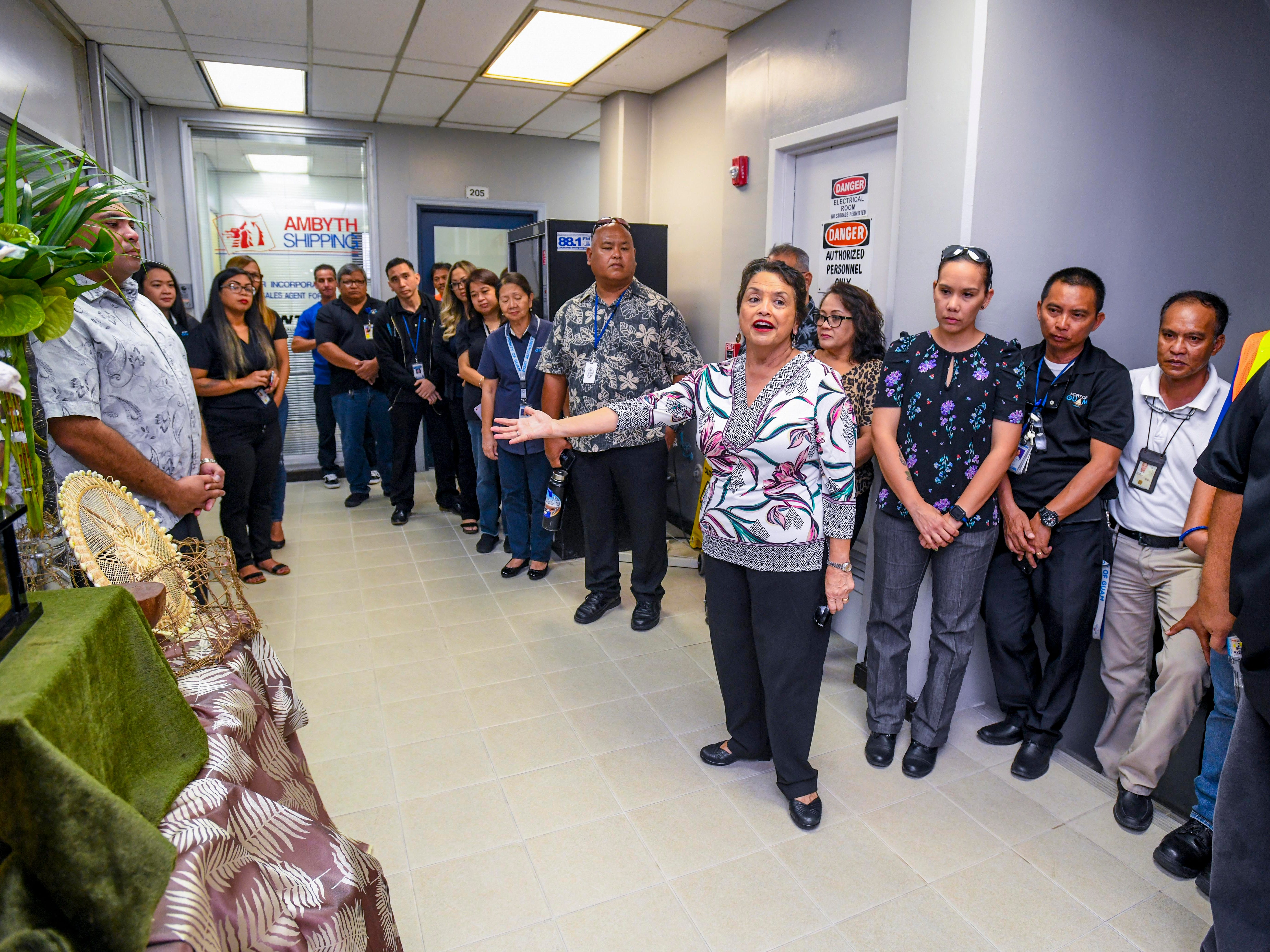 Gov. Lou Leon Guerrero addresses port employees while touring the administrative offices at the Jose D. Leon Guerrero Commercial Port in Piti on Wednesday, March 13, 2019.