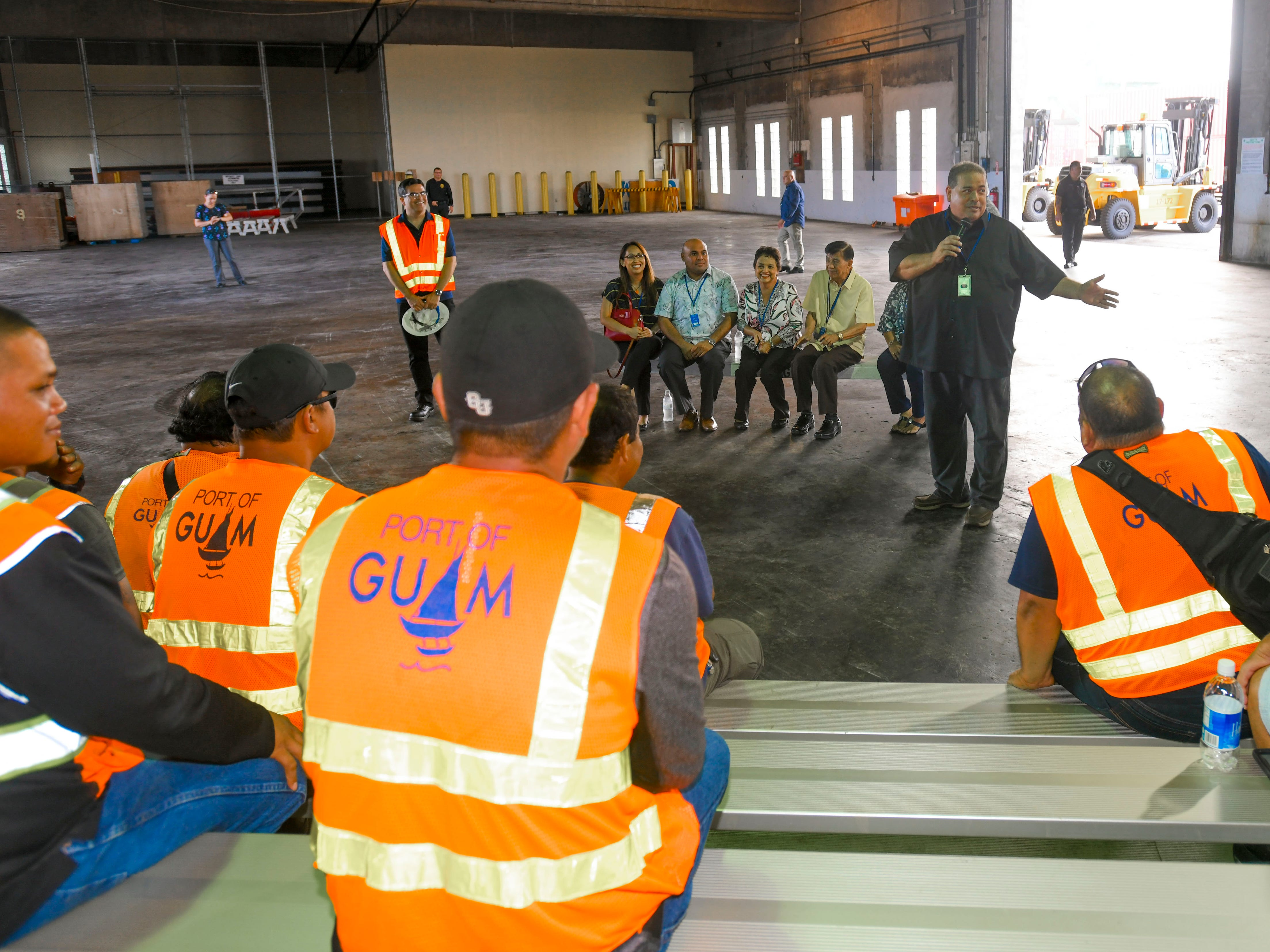 Deputy General Manager Dominic Muna solicits questions for port employees during a port visit by Gov. Lou Leon Guerrero, Lt. Gov. Josh Tenorio and others, at the Jose D. Leon Guerrero Commercial Port in Piti on Wednesday, March 13, 2019.