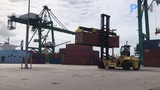 Gov. Lou Leon Guerrero employee during her visit to the Jose D. Leon Guerrero Commercial Port in Piti on Wednesday, March 13, 2019.