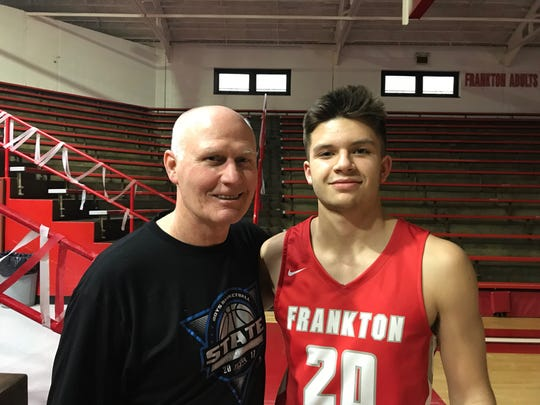 When Chris Hatzell died, Rex Bauchert (left) returned to the Frankton coaching staff. Bauchert was Chris' stepfather and is grandfather to Jon Hatzell (right). Bauchert is the all-time wins leader at Frankton, where he coached from 1985-2003.