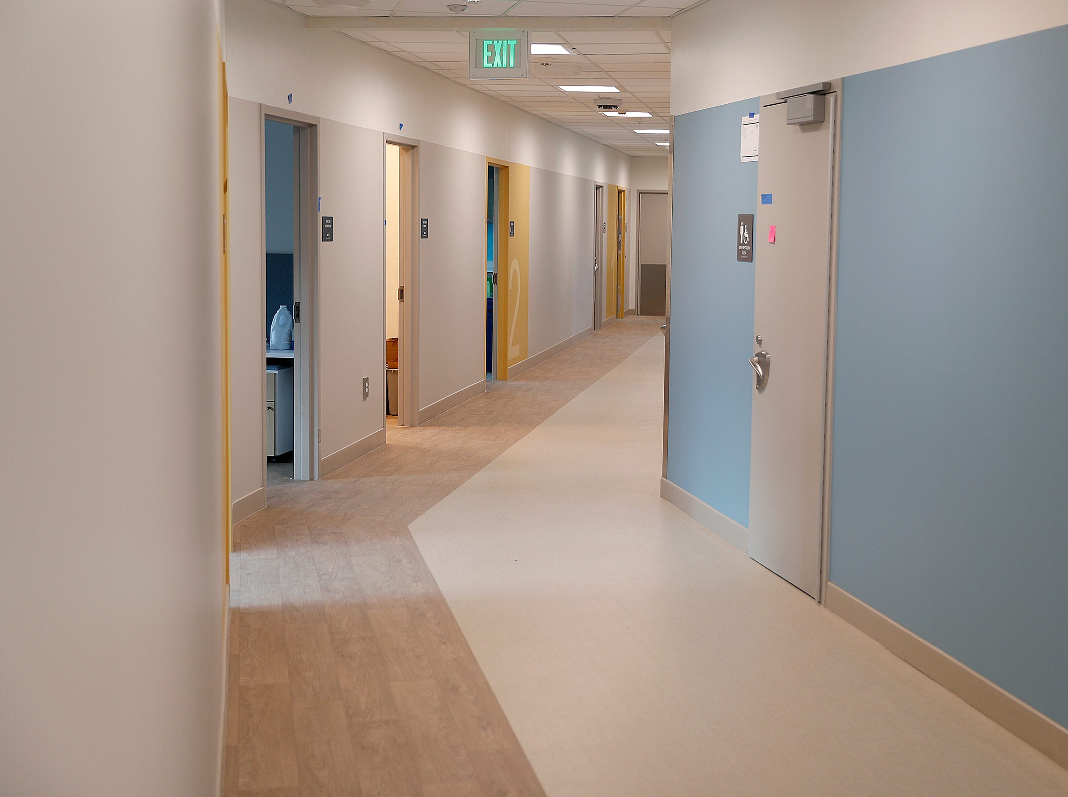 The hallway of the many classrooms in the new NeuroDiagnostic Institute, at 5435 E 16th St., will replace LaRue Carter as the center for mental health care on Wednesday, March 13, 2019.