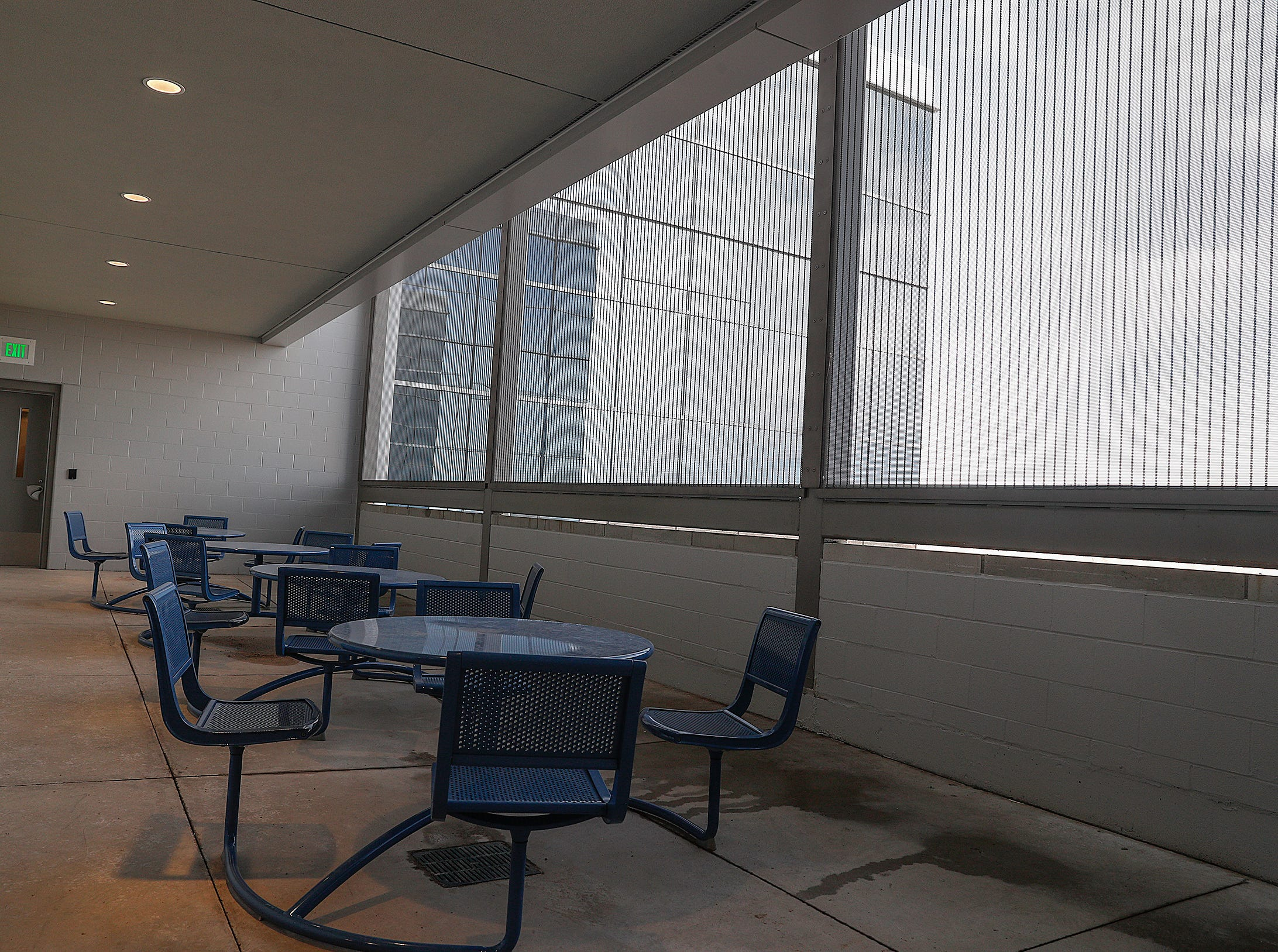 The outside terrace at the new NeuroDiagnostic Institute, at 5435 E 16th St., will replace LaRue Carter as the center for mental health care on Wednesday, March 13, 2019.