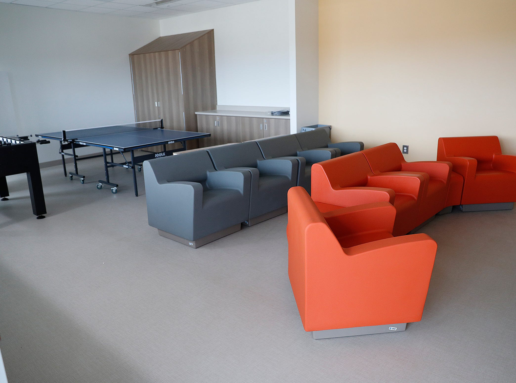 The social lounge in the Treatment Mall at the new NeuroDiagnostic Institute, at 5435 E 16th St., will replace LaRue Carter as the center for mental health care on Wednesday, March 13, 2019.