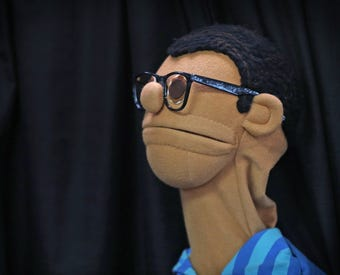 Joseph Maley Friends Puppet Troupe teaches about disabilities using puppets with disabilities, like visual impairment and cerebral palsy.