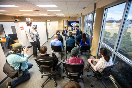 2020 presidential candidate Andrew Yang, of New York, visits with employees on Wednesday, March 13, 2019, at IDx Technologies Inc. in Coralville, Iowa.