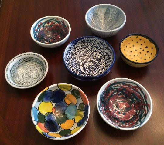"A hand-thrown pottery bowl, created by local art students and professional potters, is included in the ticket price for Sunday's ""Empty Bowls"" event benefiting the Trumansburg Food Pantry."