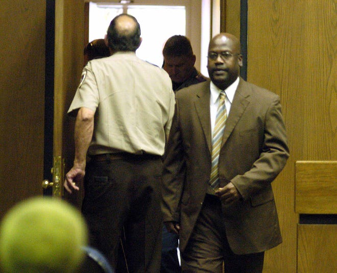 In this 2010 file photo, Curtis Flowers enters Judge Joseph Loper's courtroom after his conviction for four counts of murder  in Winona.