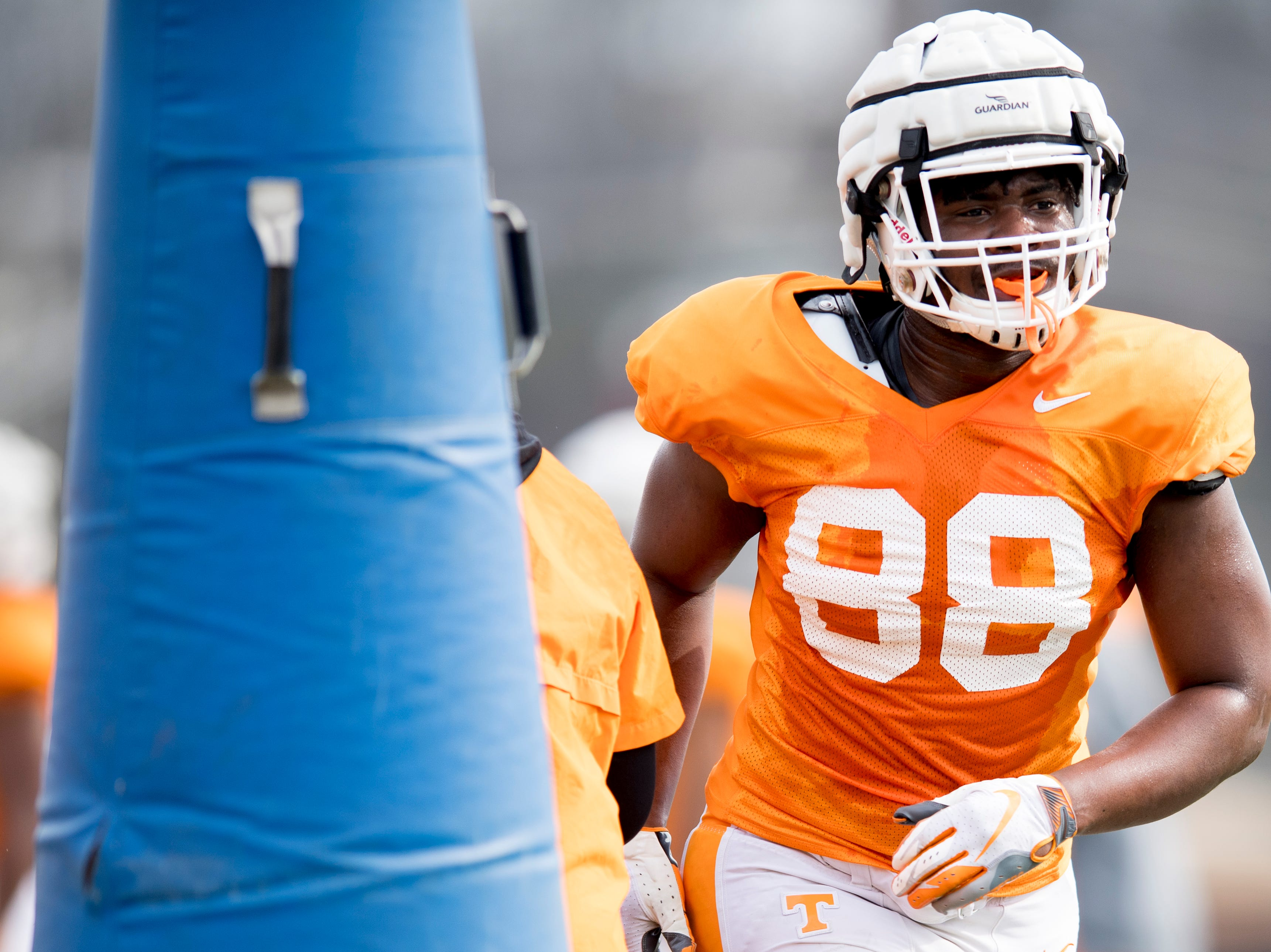 Tennessee defensive lineman LaTrell Dumphus (88) during Tennessee spring football practice at  Haslam Field in Knoxville, Tennessee on Wednesday, March 13, 2019.