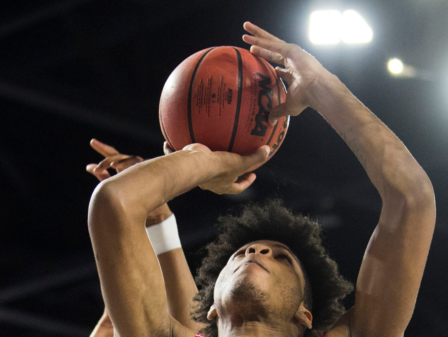 Austin-East's Gregory Stennis (35) takes a shot during a TSSAA AA state quarterfinal game between Austin-East and Wooddale at the Murphy Center in Murfreesboro, Wednesday, March 13, 2019. Wooddale defeated Austin-East 79-61.