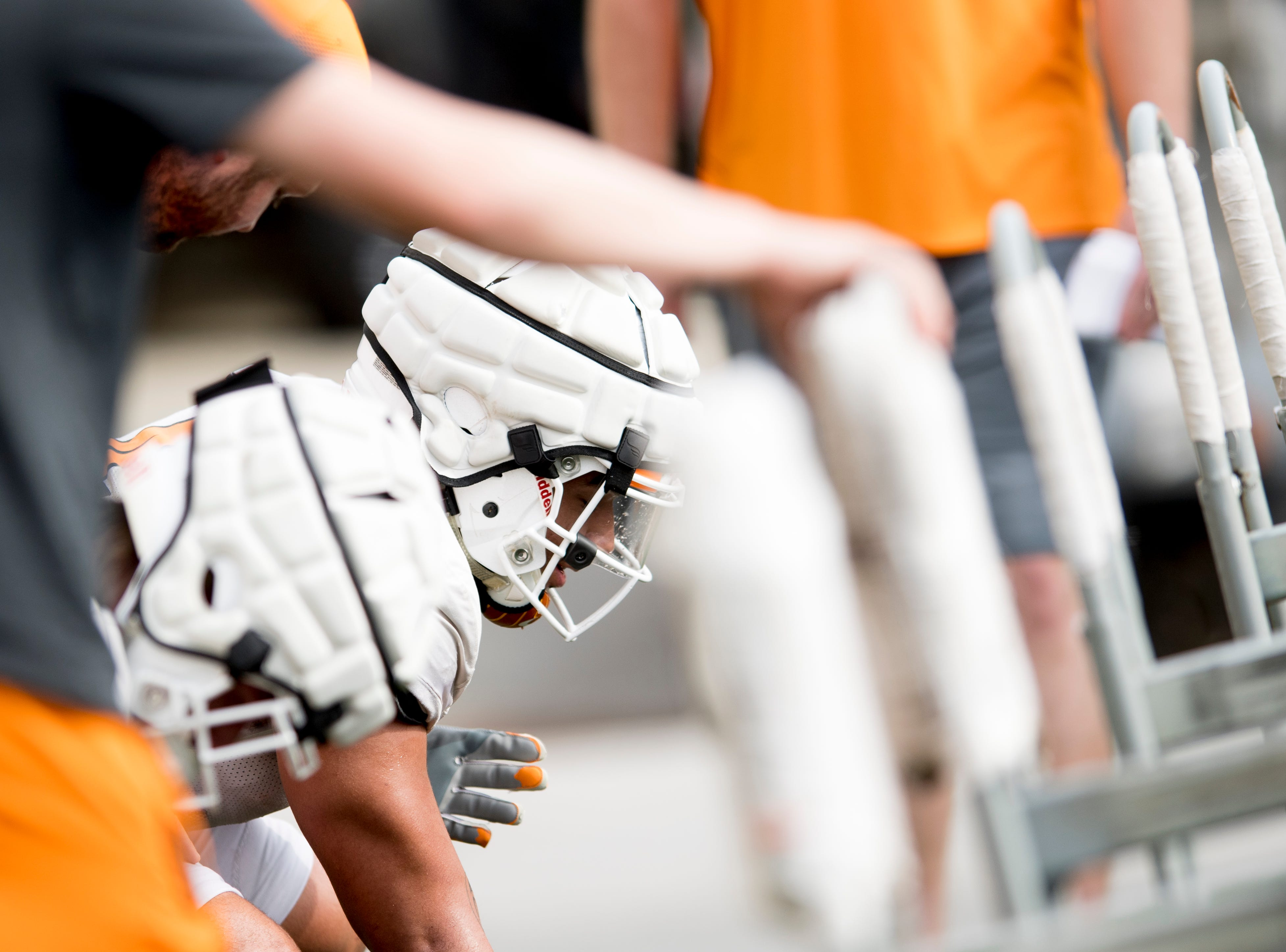 Players drill during Tennessee spring football practice at  Haslam Field in Knoxville, Tennessee on Wednesday, March 13, 2019.
