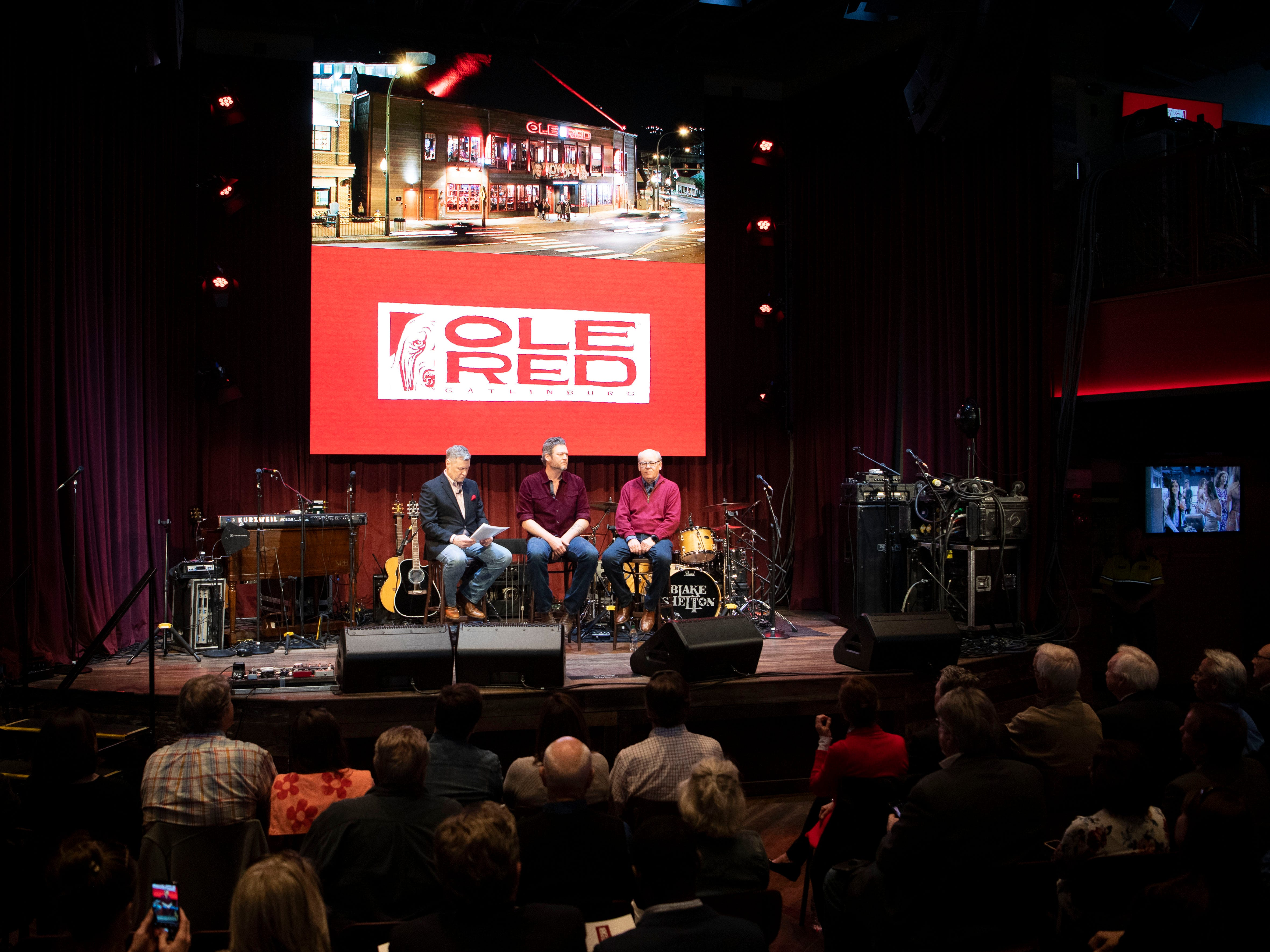 Gatlinburg city officials and guests attend a news conference with Blake Shelton, center, and Ryman Hospitality Properties CEO Colin Reed that was emceed by 650 AM WSM radio personality Bill Cody at Ole Red Gatlinburg on Wednesday, March 13, 2019 for the grand opening of Ole Red Gatlinbur.