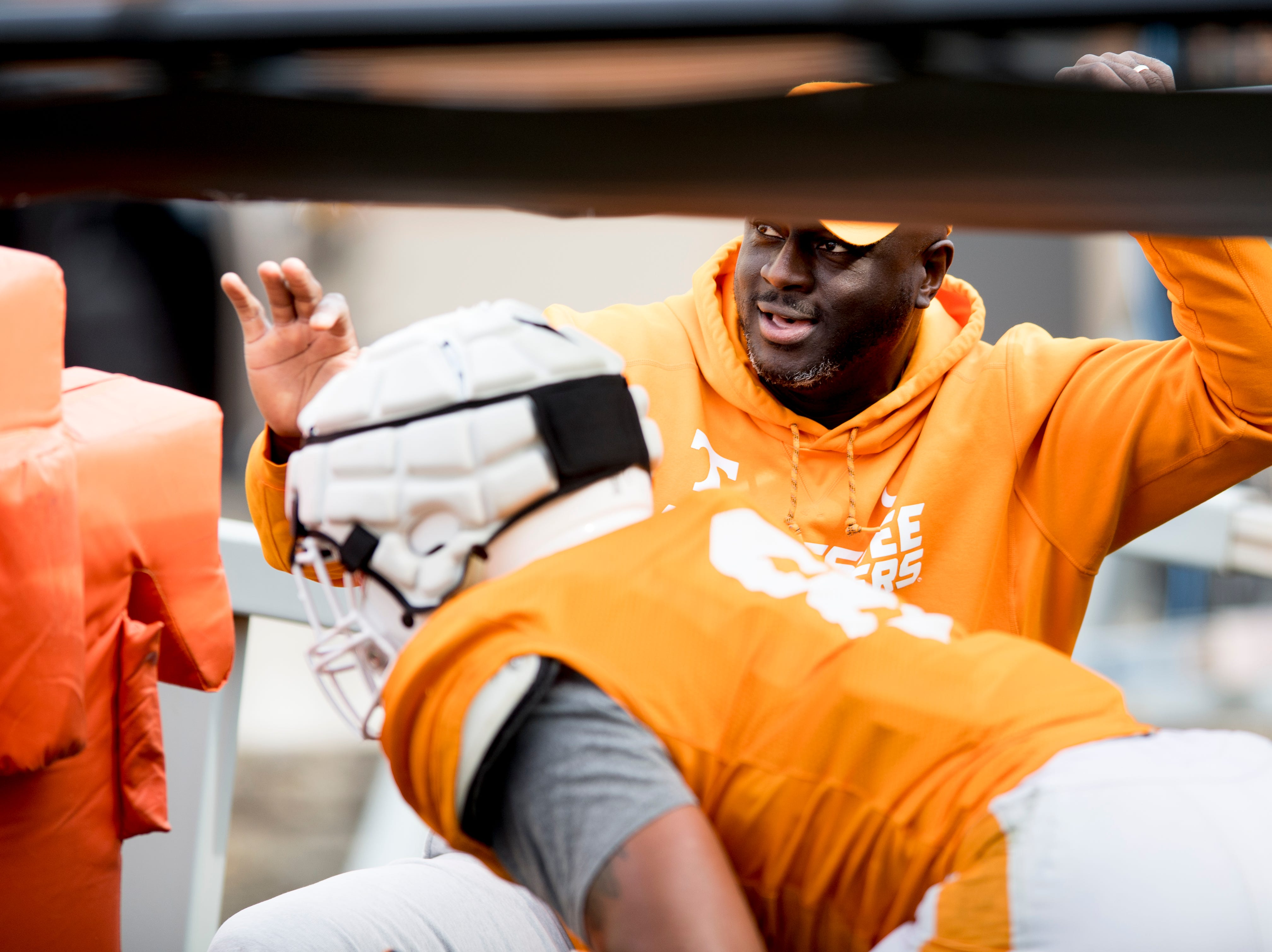 Co-Defensive Coordinator / Outside Linebackers coach Chris Rumph during Tennessee spring football practice at  Haslam Field in Knoxville, Tennessee on Wednesday, March 13, 2019.