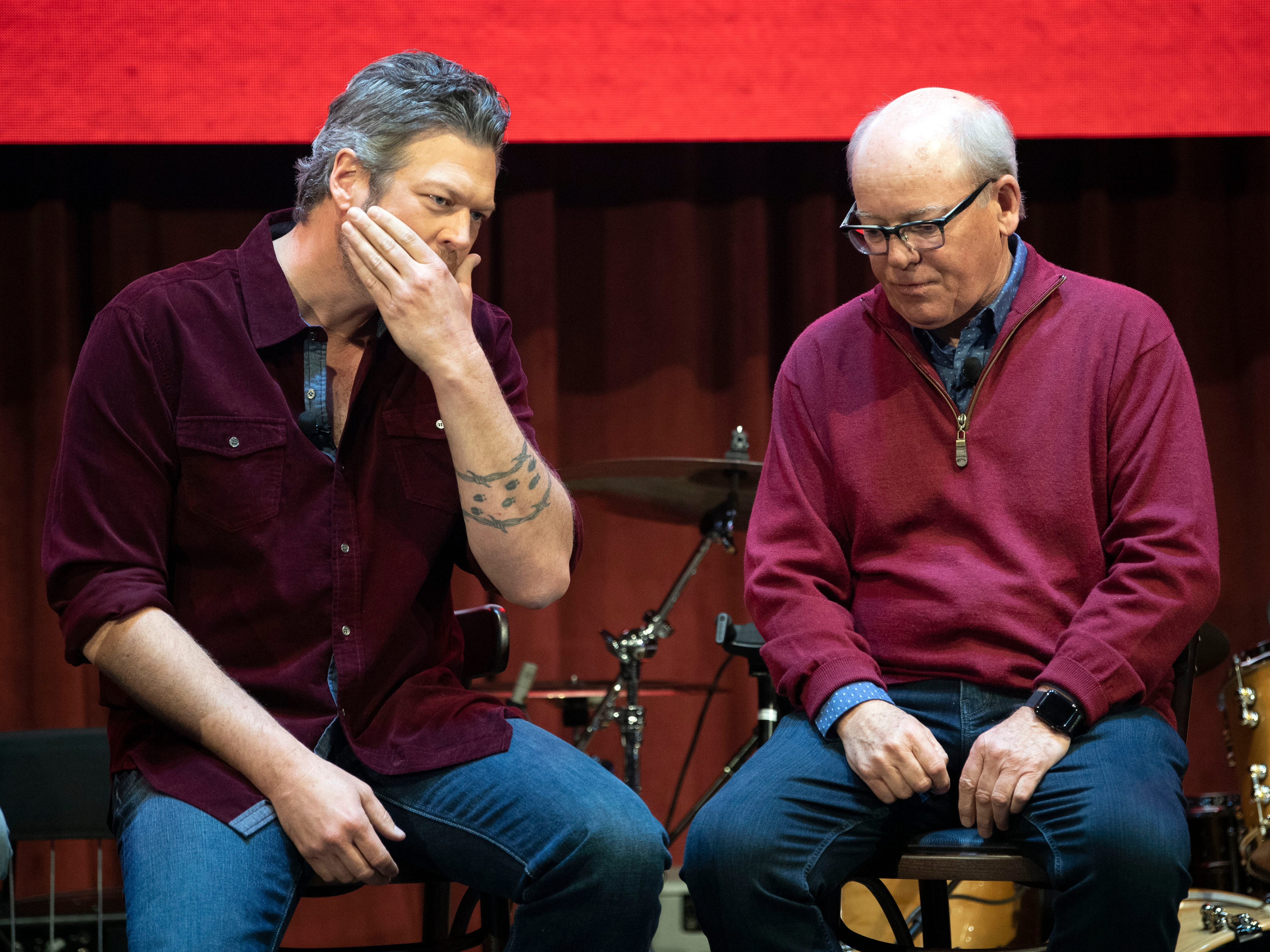 Blake Shelton, left, and business partner Colin Reed, CEO of Ryman Hospitality Properties, share short stories on stage during a news conference for the opening of Ole Big Red on Wednesday, March 13, 2019 for the grand opening of Ole Red.