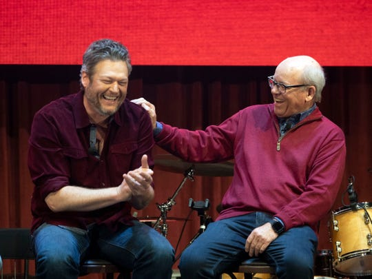 Blake Shelton and Ryman Hospitality Properties CEO Colin Reed share a laugh during a news conference on Wednesday, March 13, 2019 for the grand opening of Ole Red Gatlinburg.