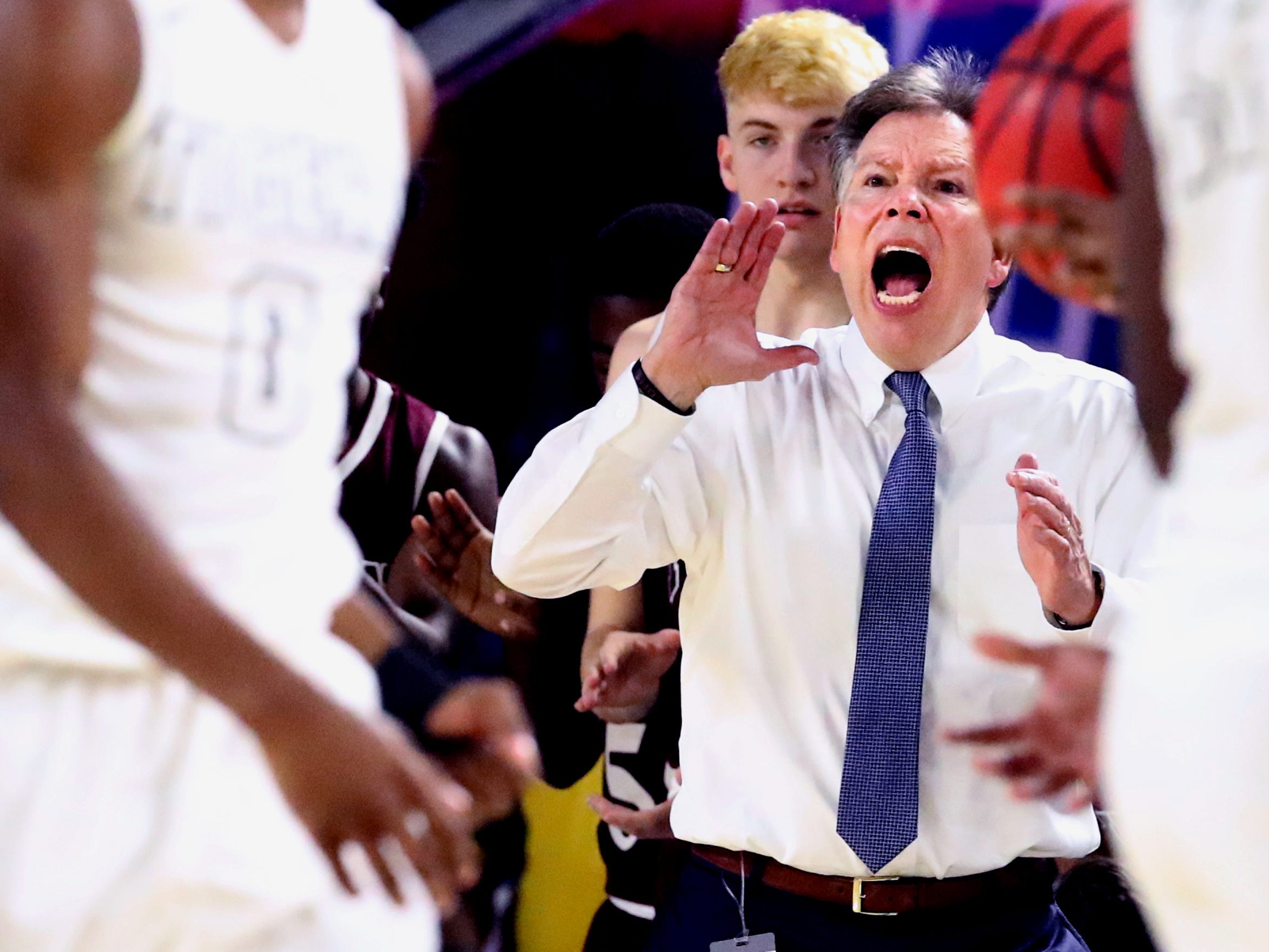 Fulton's head coach Jody Wright  on the sidelines during the quarterfinal round of the TSSAA Class AA Boys State Tournament against Mitchell, on Wednesday, March 13, 2019, at Murphy Center in Murfreesboro, Tenn.